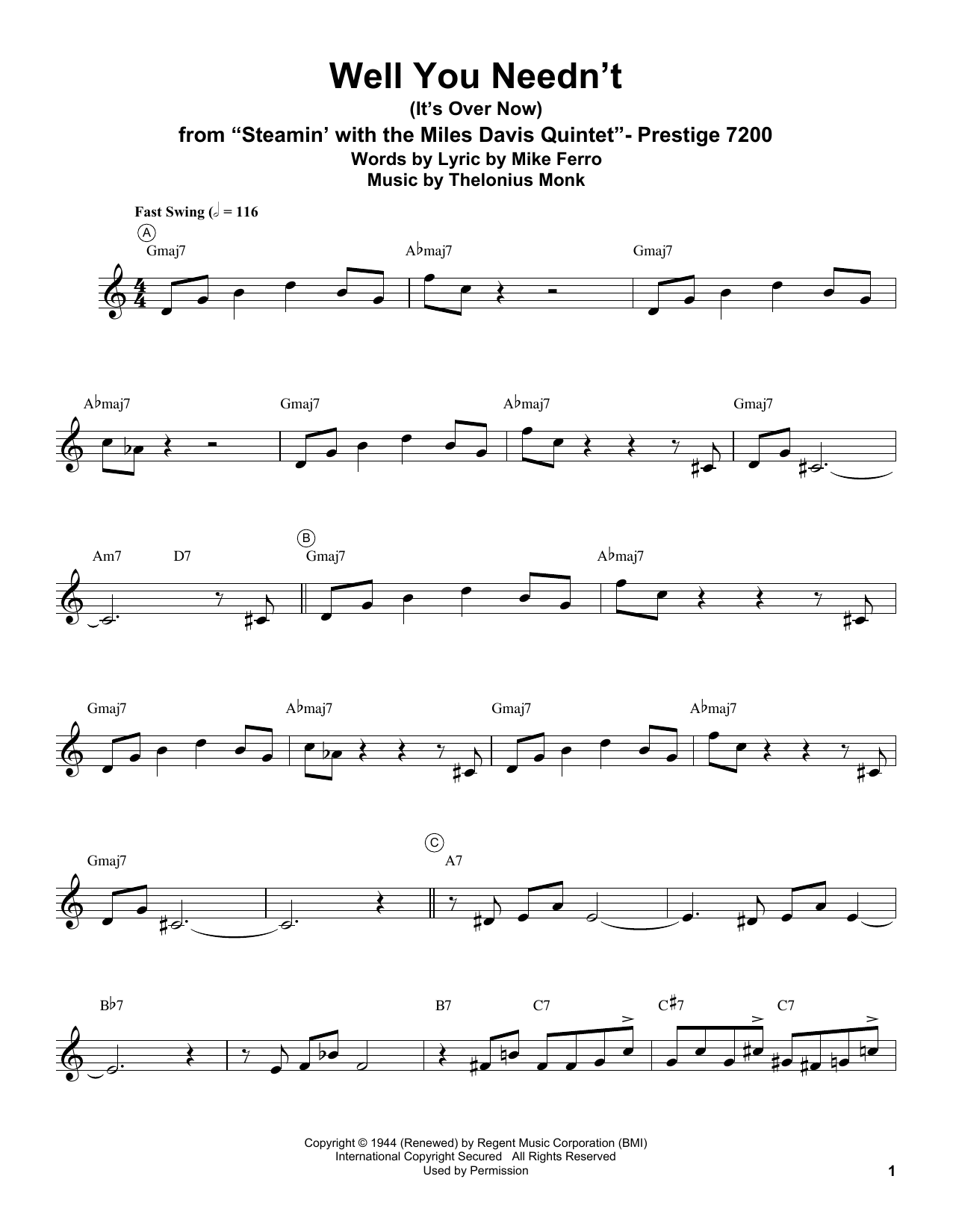 Well You Needn't (It's Over Now) Sheet Music