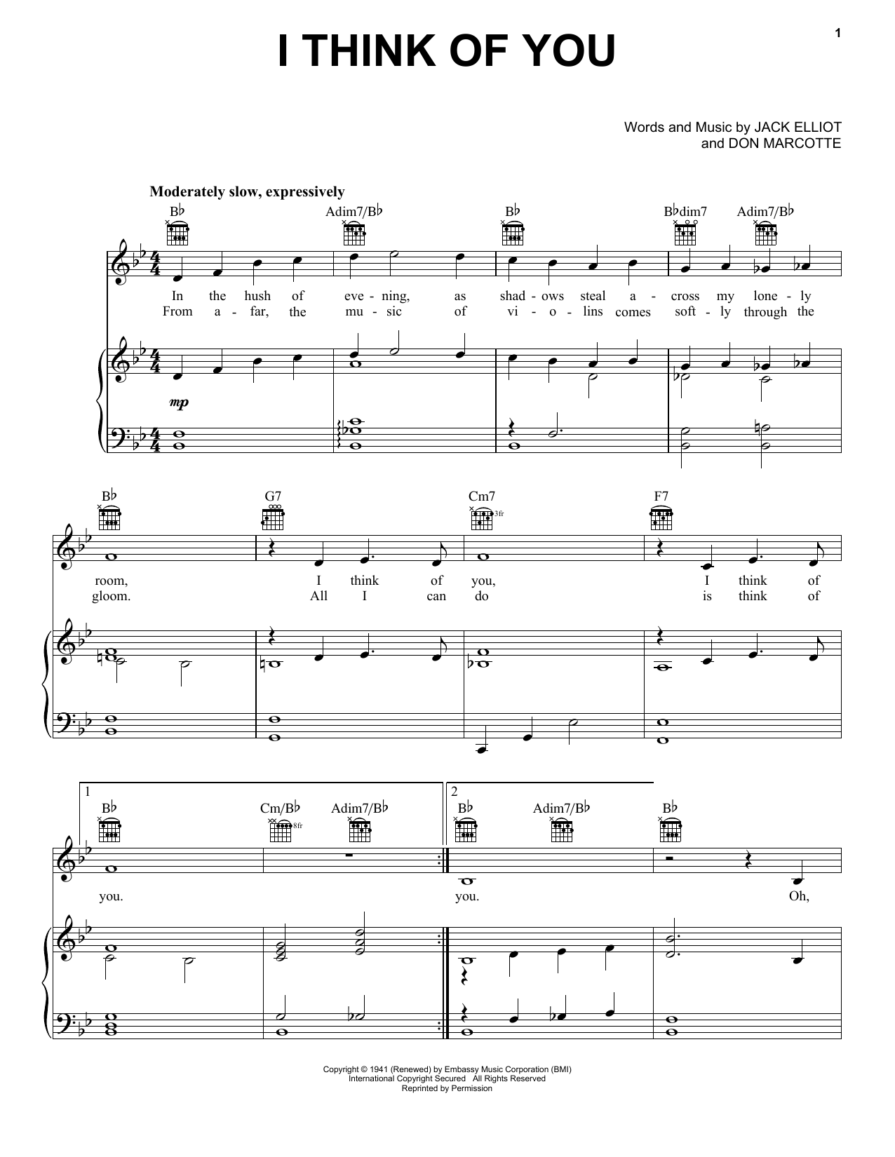 I Think Of You (Piano, Vocal & Guitar (Right-Hand Melody))