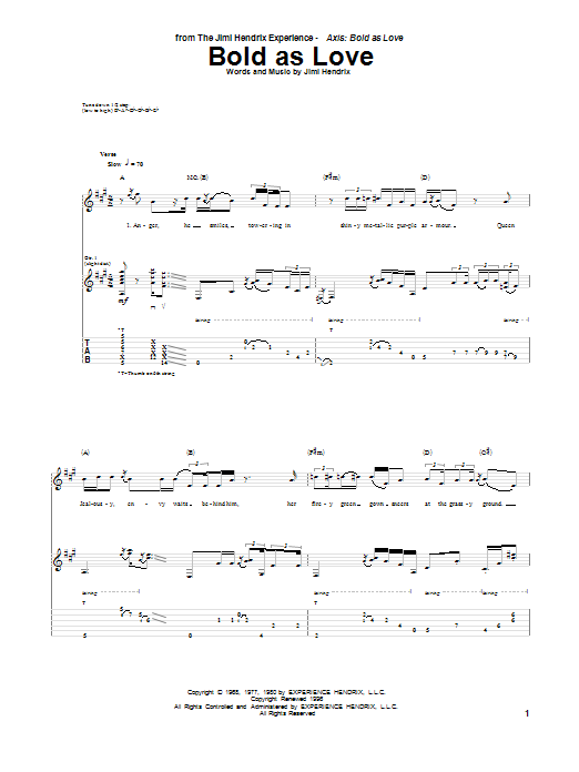 Tablature guitare Bold As Love de Jimi Hendrix - Tablature Guitare