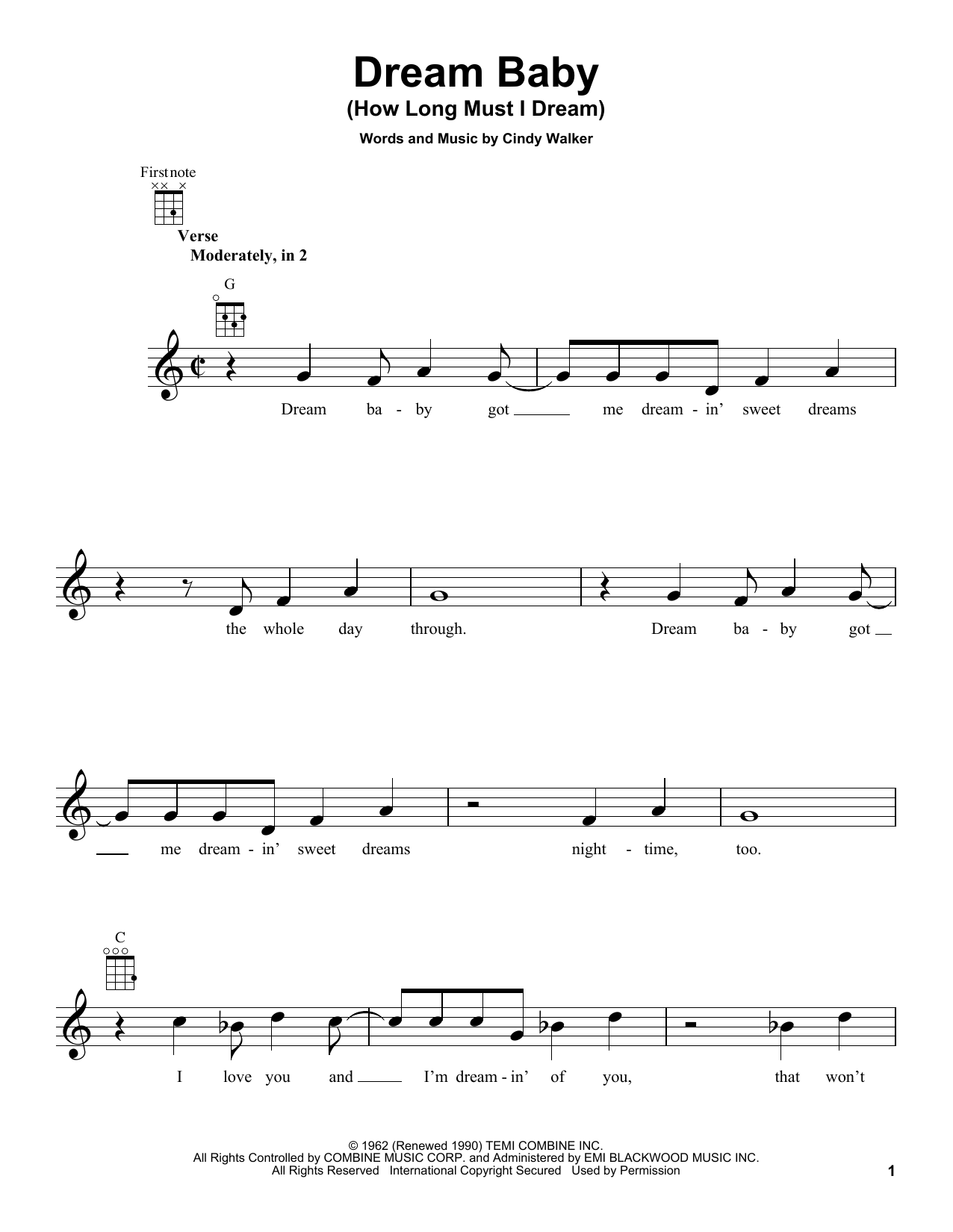 Tablature guitare Dream Baby (How Long Must I Dream) de Roy Orbison - Ukulele