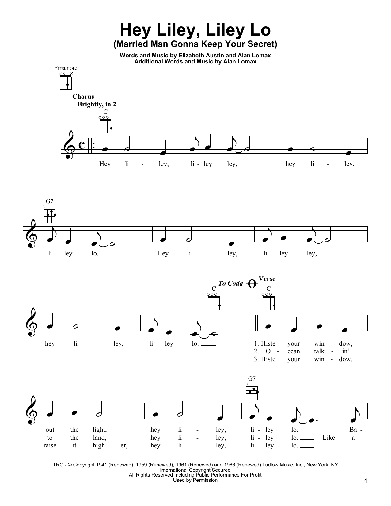Tablature guitare Hey Liley, Liley Lo (Married Man Gonna Keep Your Secret) de Woody Guthrie - Ukulele