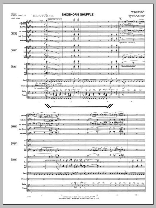 Shoehorn Shuffle (COMPLETE) sheet music for jazz band by Frank Mantooth. Score Image Preview.