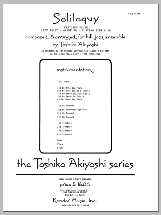 Soliloquy (COMPLETE) sheet music for jazz band by Toshiko Akiyoshi. Score Image Preview.