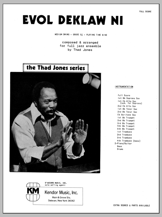 Evol Deklaw Ni (COMPLETE) sheet music for jazz band by Thad Jones. Score Image Preview.