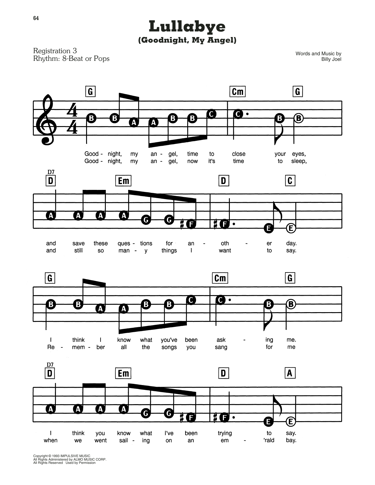Lullabye (Goodnight, My Angel) Sheet Music
