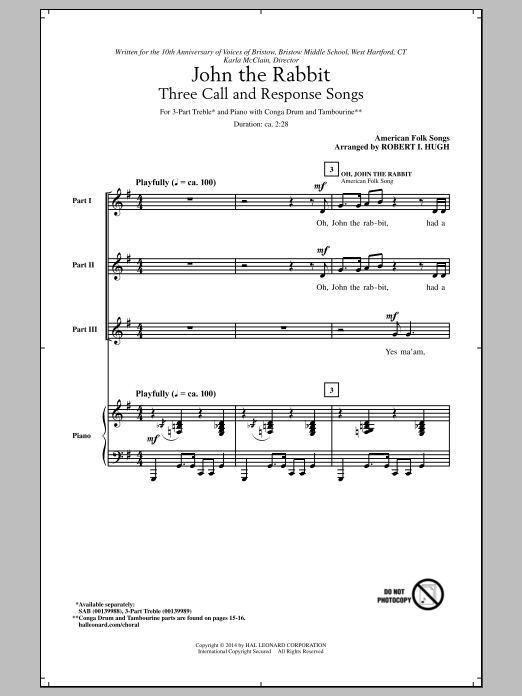 Oh, John The Rabbit (arr. Robert I. Hugh) Sheet Music