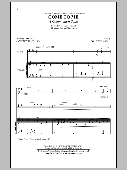 Partition chorale Come To Me (A Communion Song) de Don Besig - SATB