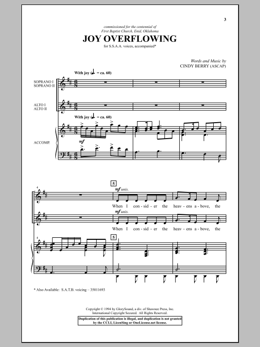 Joy Overflowing Sheet Music