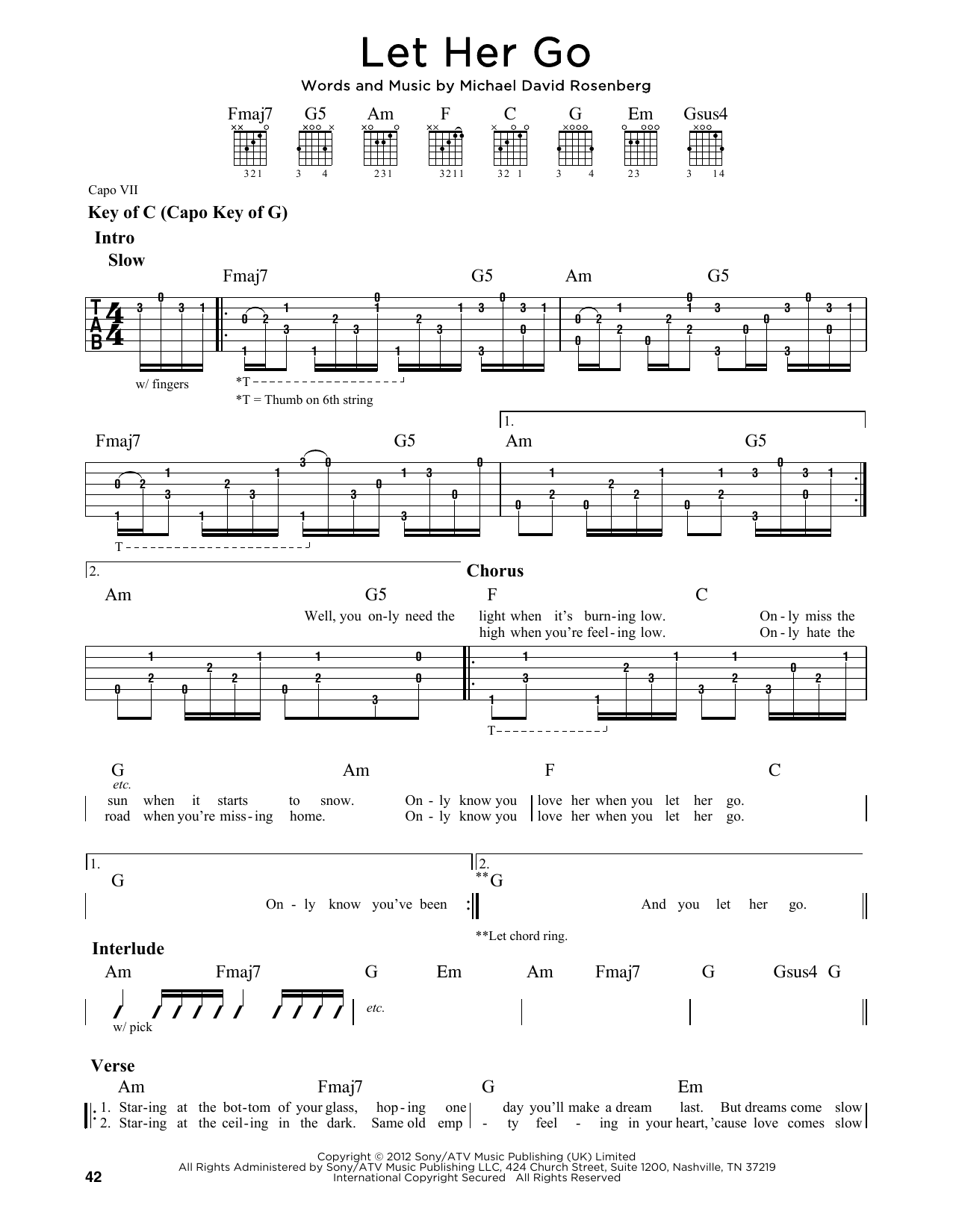Let Her Go By Passenger Guitar Lead Sheet Guitar Instructor