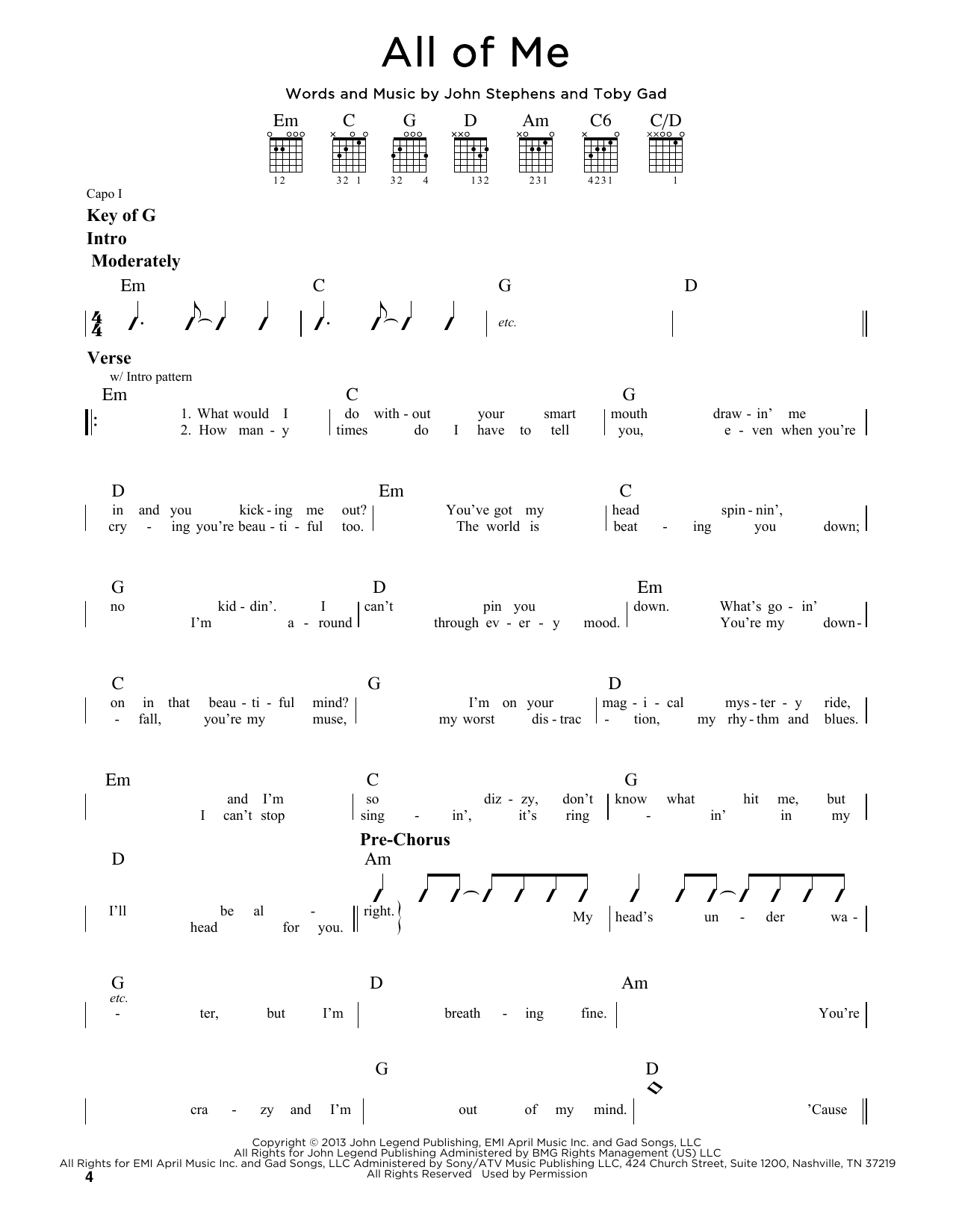 Tablature guitare All Of Me de John Legend - Tablature Guitare Lead