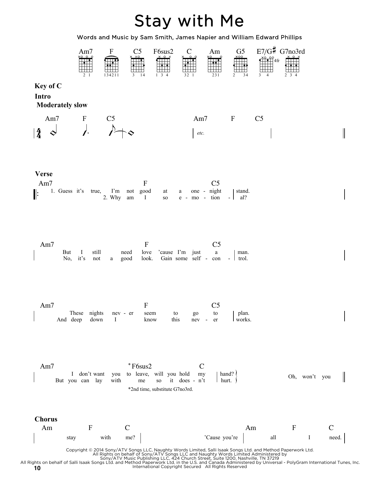Tablature guitare Stay With Me de Sam Smith - Tablature Guitare Lead