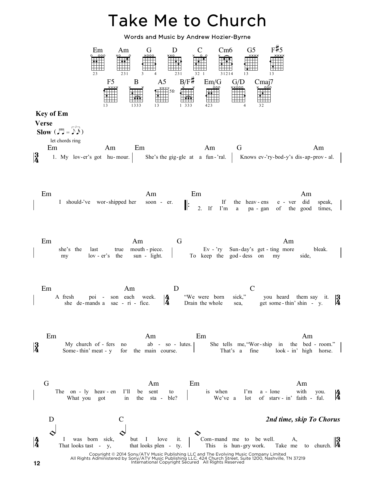 Tablature guitare Take Me To Church de Hozier - Tablature Guitare Lead