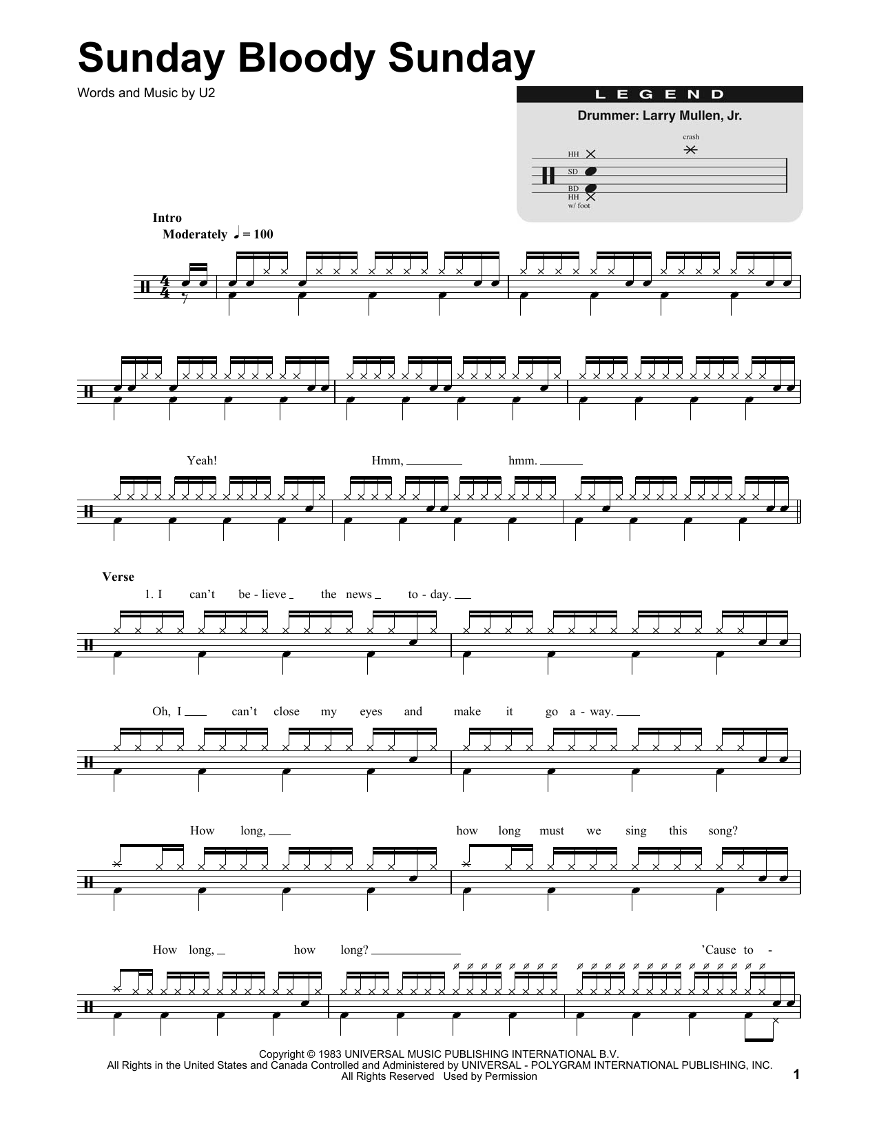 Sunday Bloody Sunday Sheet Music