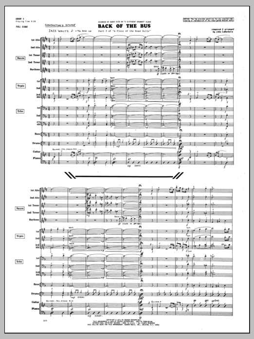 Back Of The Bus (COMPLETE) sheet music for jazz band by John LaBarbara. Score Image Preview.