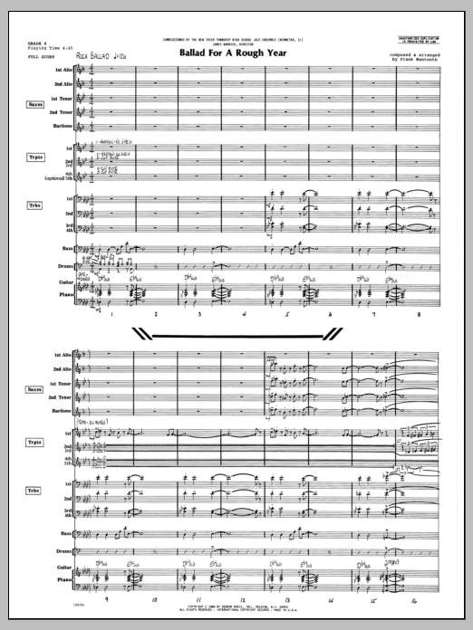 Ballad For A Rough Year (COMPLETE) sheet music for jazz band by Frank Mantooth. Score Image Preview.