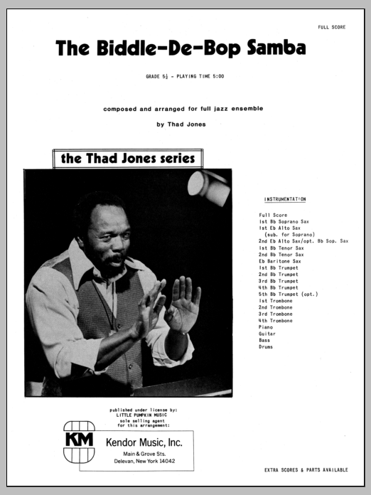Biddle-De-Bop Samba, The (COMPLETE) sheet music for jazz band by Thad Jones. Score Image Preview.