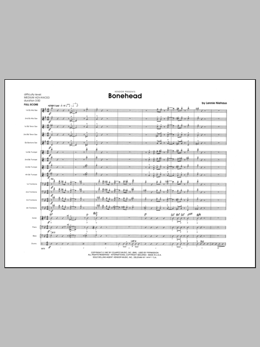 Bonehead (COMPLETE) sheet music for jazz band by Lennie Niehaus. Score Image Preview.