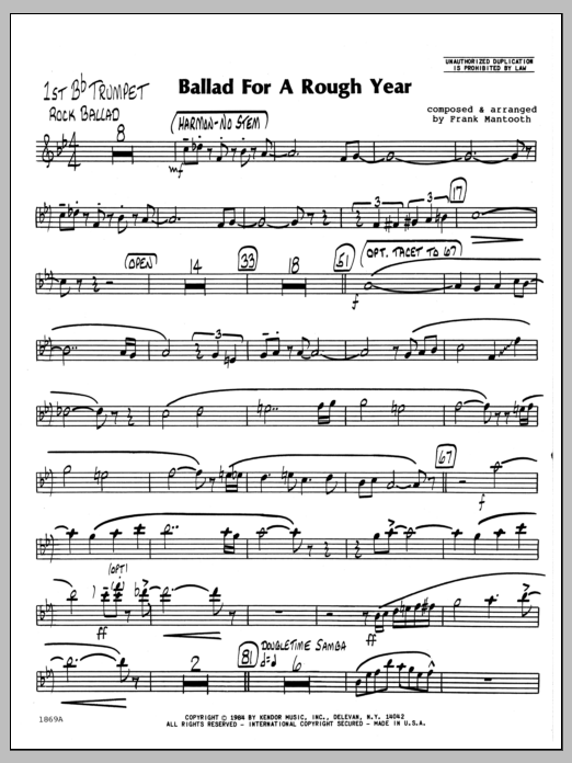 Ballad For A Rough Year - 1st Bb Trumpet by Frank Mantooth Jazz Ensemble  Digital Sheet Music
