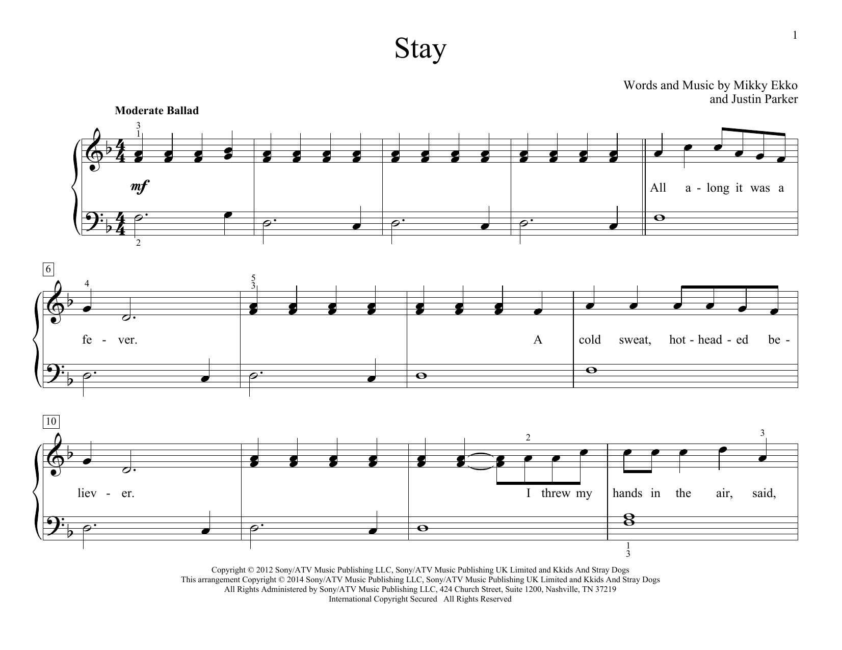 Partition autre Stay de Rihanna - Piano Solo
