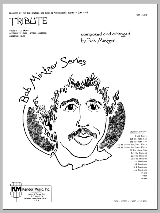 Tribute (COMPLETE) sheet music for jazz band by Bob Mintzer. Score Image Preview.