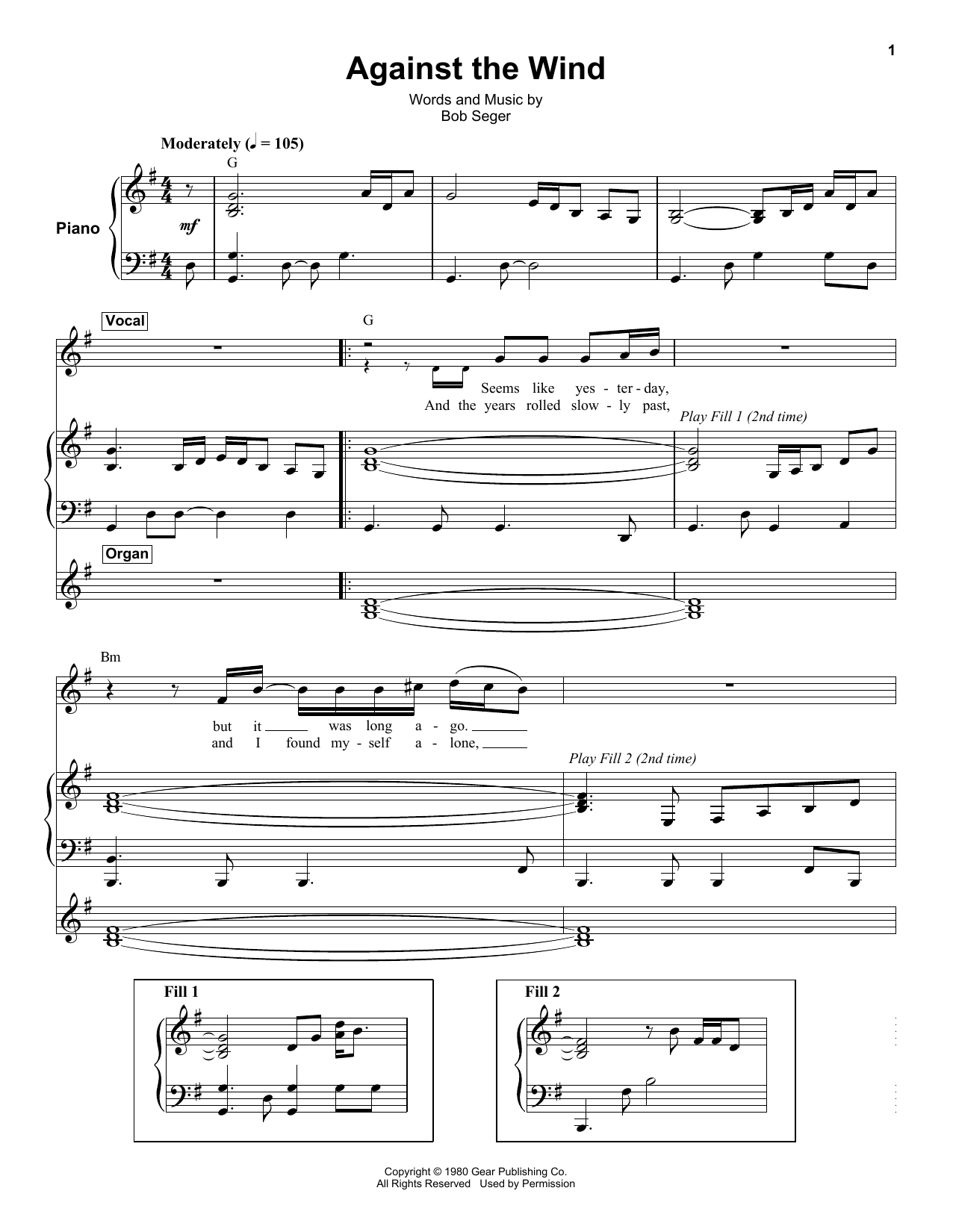Against The Wind Sheet Music