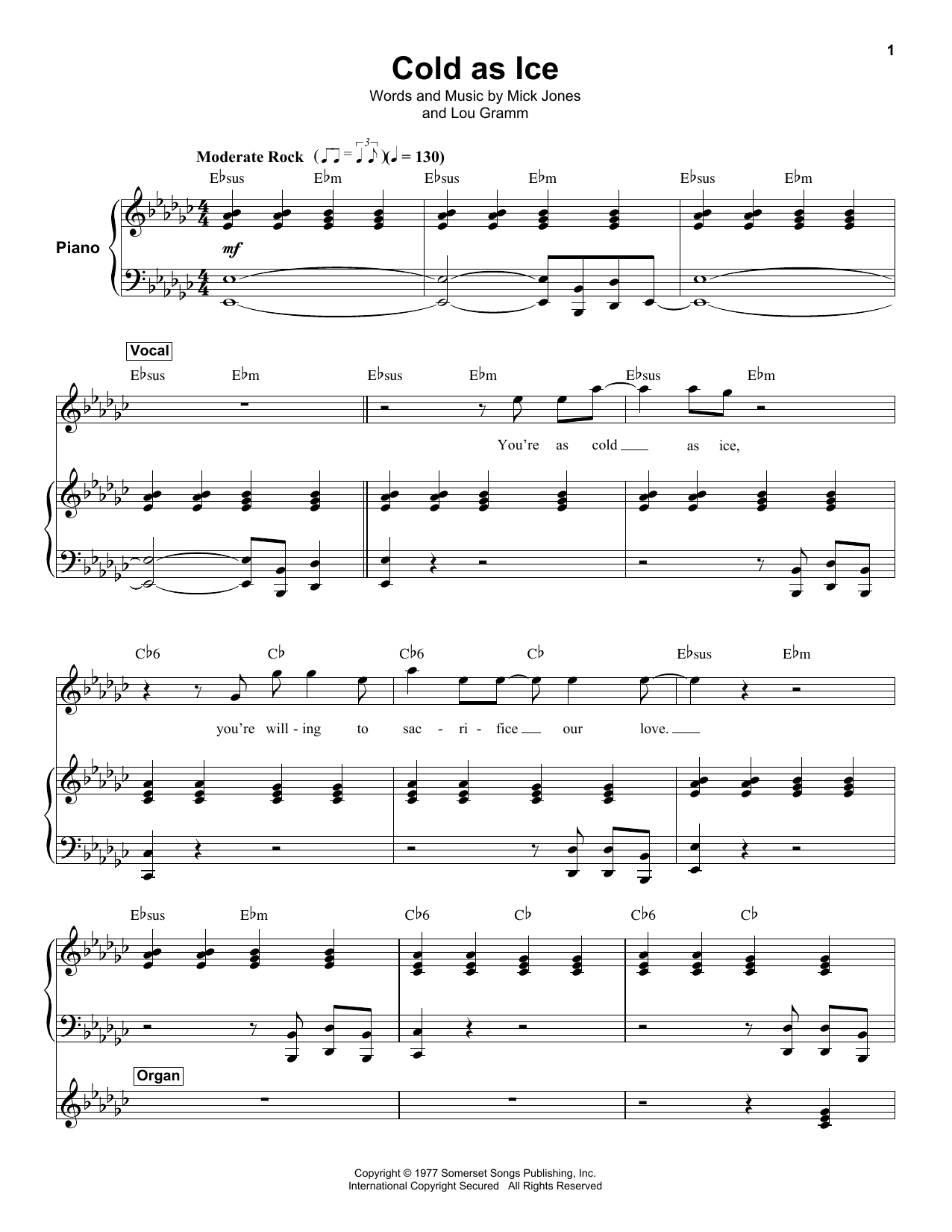 "Foreigner ""cold as ice"" guitar tab in d# minor download & print."