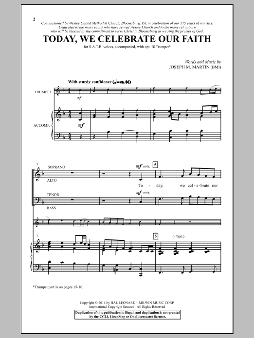 Today, We Celebrate Our Faith Sheet Music