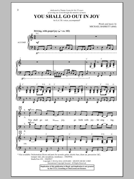 Partition chorale You Shall Go Out In Joy de Michael Barrett - SATB