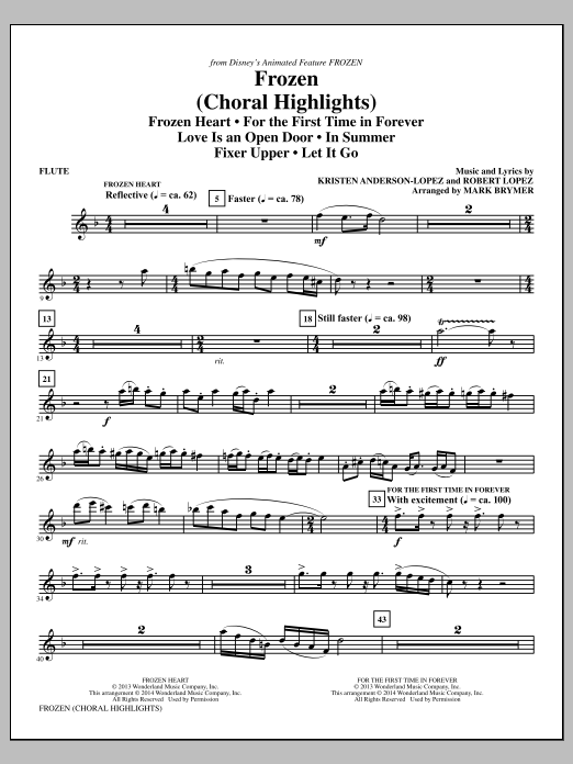 Frozen (Choral Highlights) (complete set of parts) sheet music for orchestra/band by Mark Brymer, Kristen Anderson-Lopez and Robert Lopez. Score Image Preview.