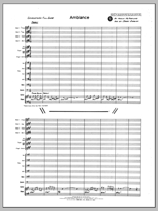 Ambiance (COMPLETE) sheet music for jazz band by Marion McPartland, Dodgion and Marian McPartland. Score Image Preview.