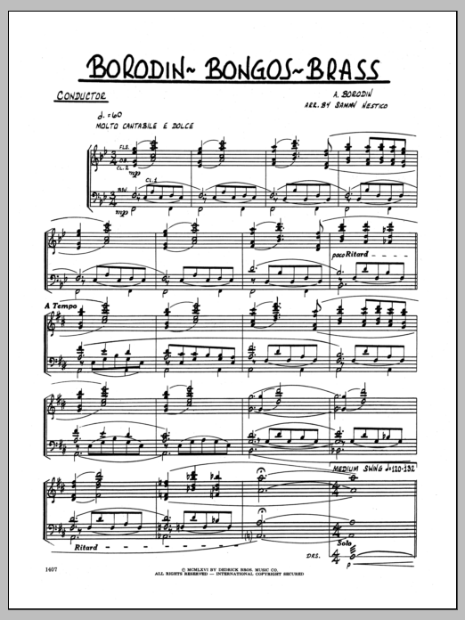 Borodin-Bongos-Brass (COMPLETE) sheet music for jazz band by Sammy Nestico and Alexander Borodin. Score Image Preview.