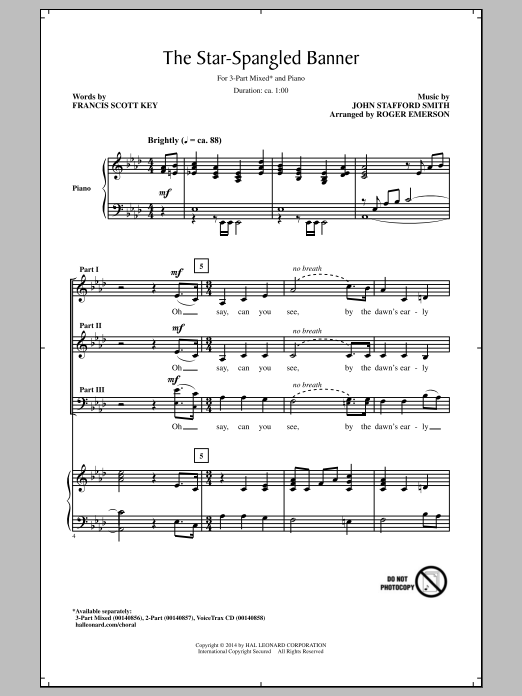 The Star Spangled Banner (arr. Roger Emerson) Sheet Music
