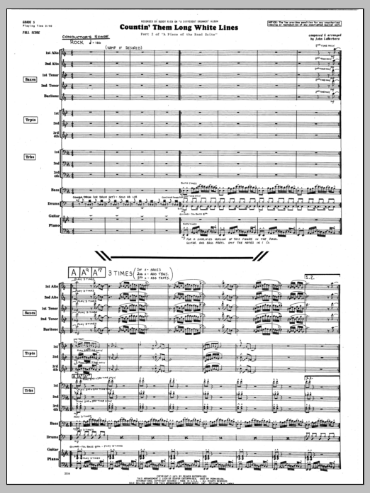 Countin' Them Long White Lines (COMPLETE) sheet music for jazz band by John LaBarbara. Score Image Preview.