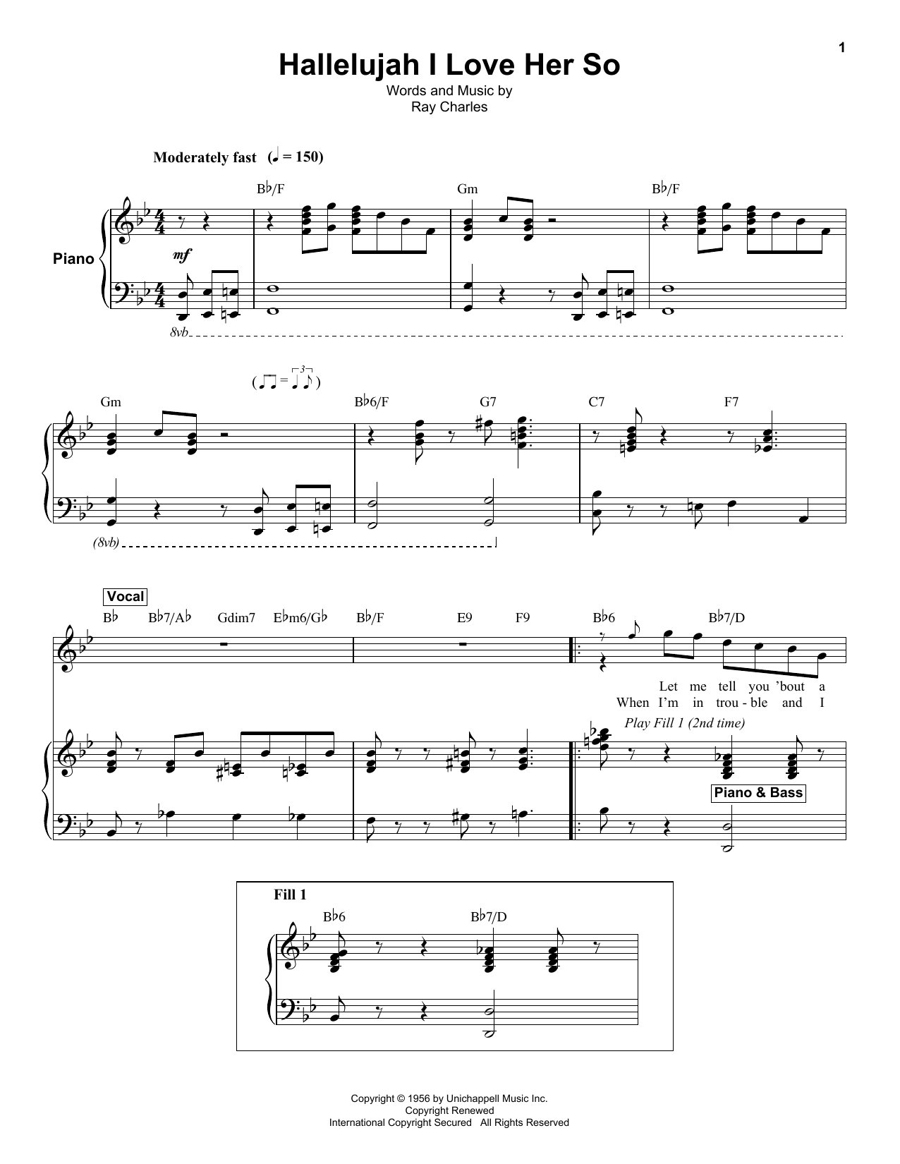 Hallelujah i love her so sheet music by ray charles keyboard hallelujah i love her so sheet music hexwebz Gallery