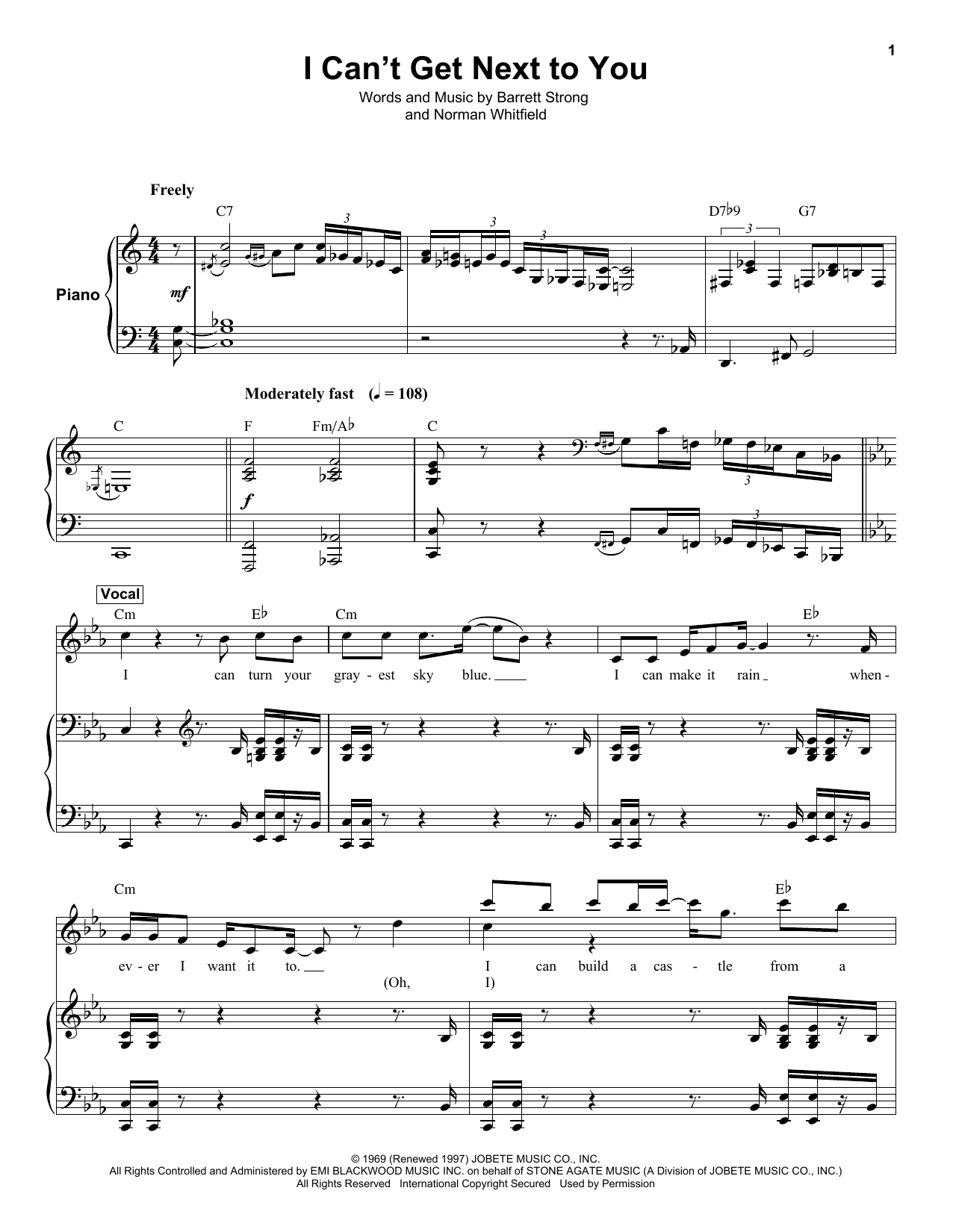 I Can't Get Next To You (Keyboard Transcription)