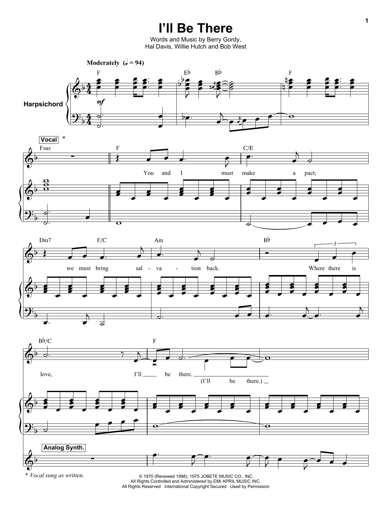 I'll Be There (Keyboard Transcription)