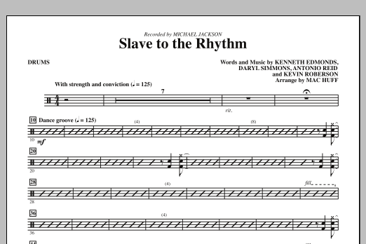 Slave To The Rhythm - Drums Sheet Music