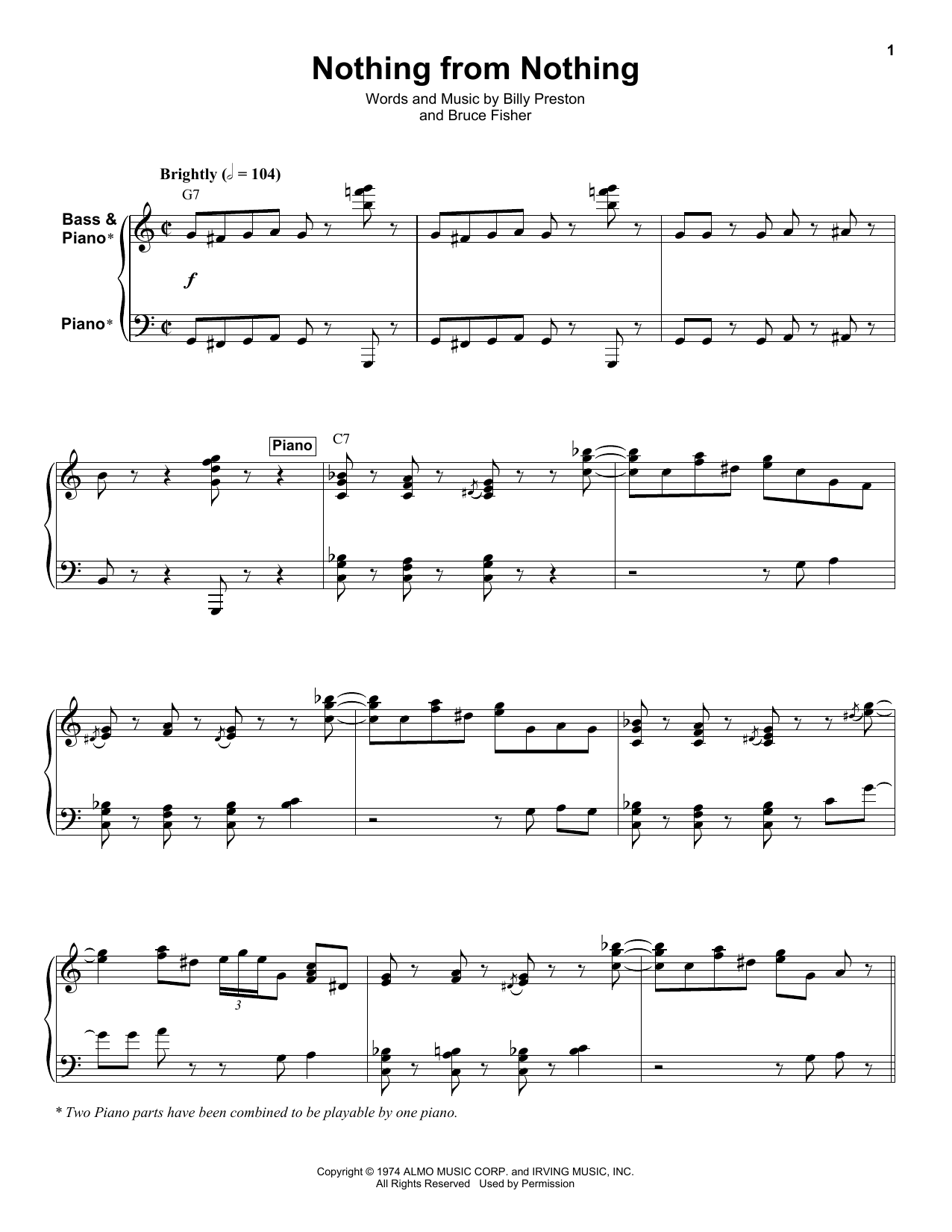 Nothing From Nothing (Keyboard Transcription)