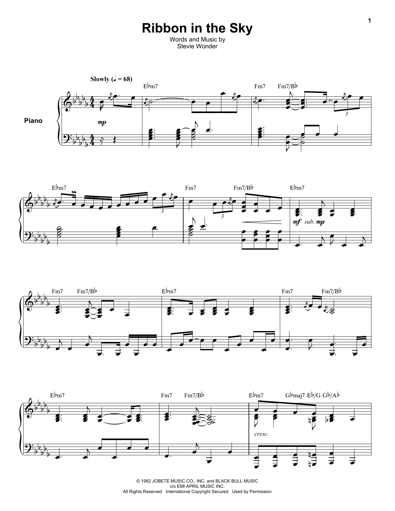 Ribbon In The Sky (Keyboard Transcription)