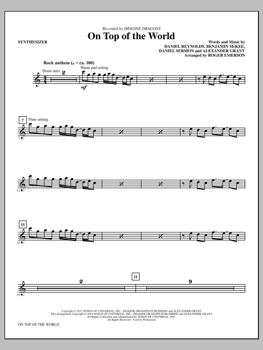 On Top of the World (complete set of parts) sheet music for orchestra/band by Roger Emerson, Alexander Grant, Daniel Reynolds, Daniel Sermon and Imagine Dragons. Score Image Preview.