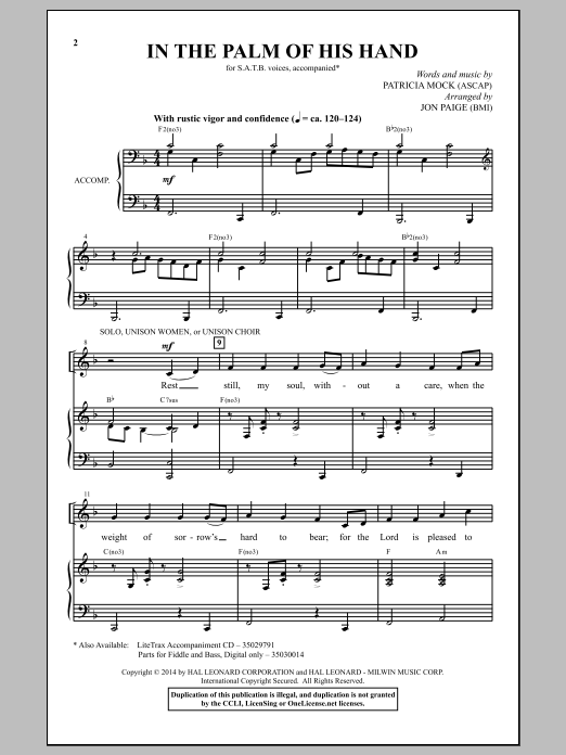 Partition chorale In The Palm Of His Hand de Jon Paige - SATB