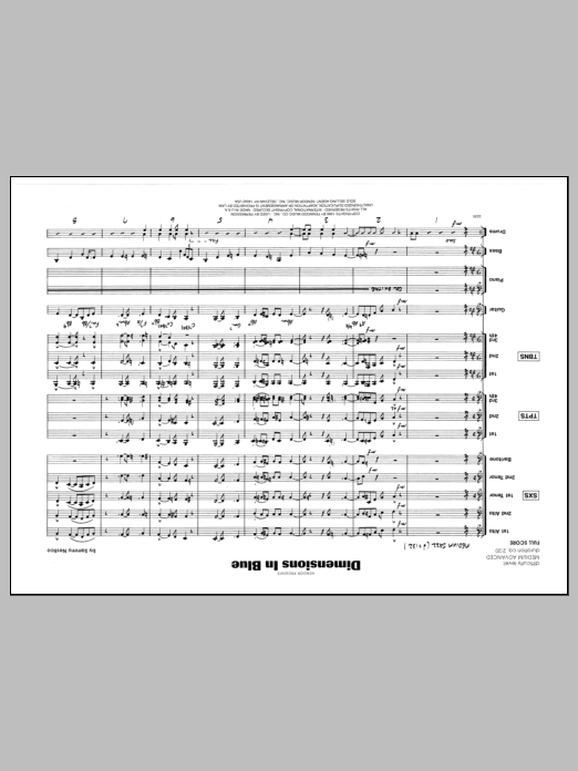 Dimensions In Blue (COMPLETE) sheet music for jazz band by Sammy Nestico. Score Image Preview.