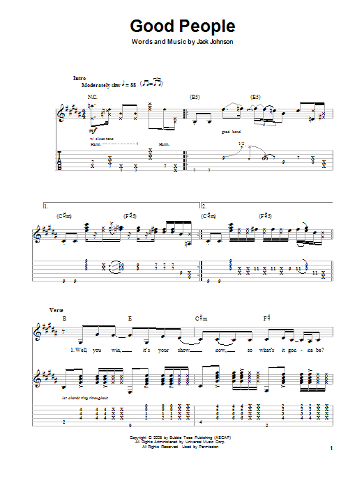 Tablature guitare Good People de Jack Johnson - Autre