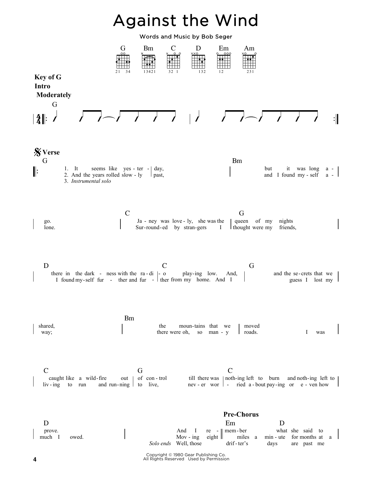 Against The Wind By Bob Seger Guitar Lead Sheet Guitar Instructor