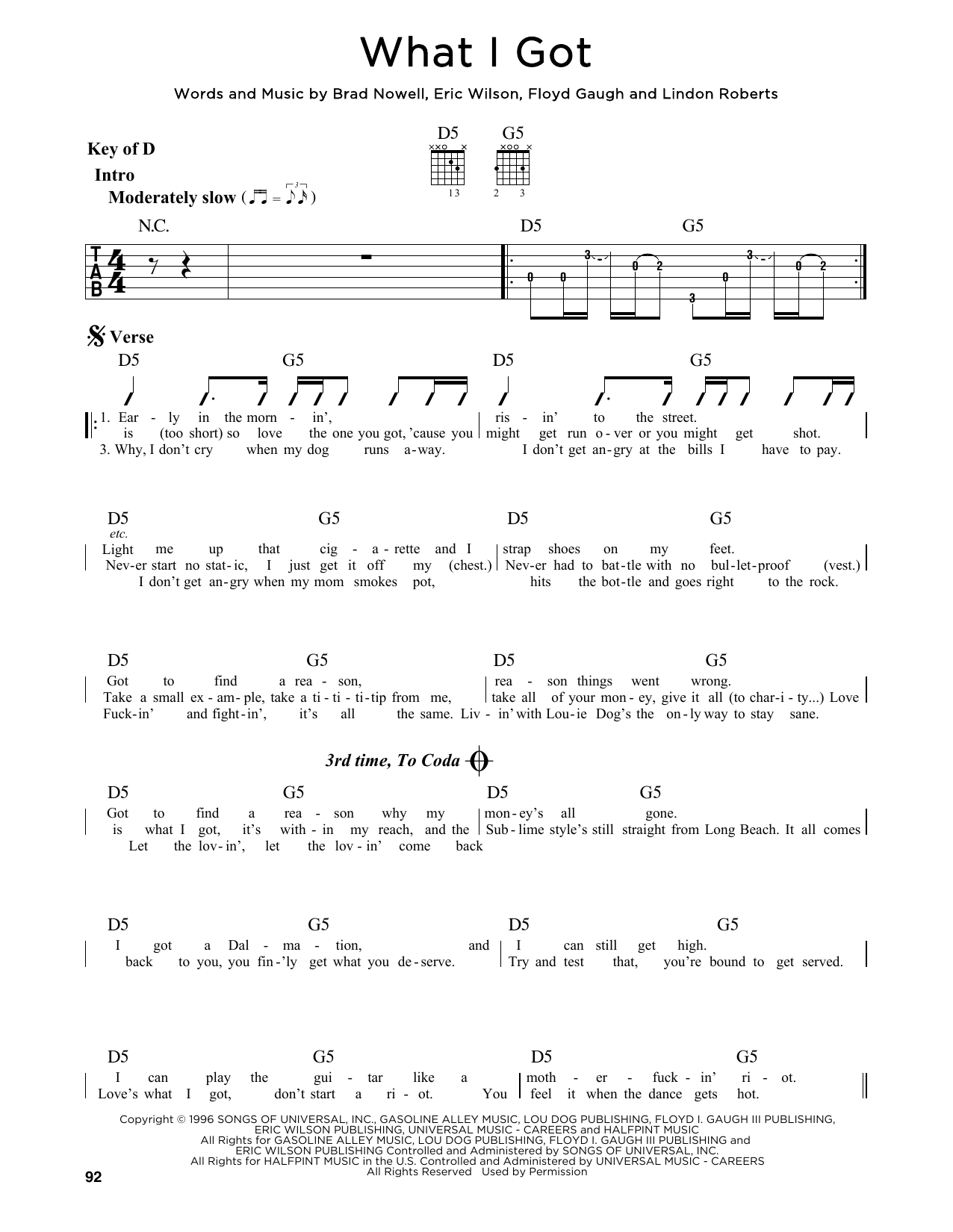What I Got Sublime Guitar Lead Sheet
