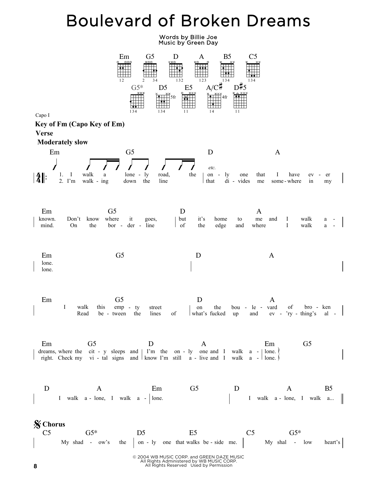 Boulevard Of Broken Dreams Sheet Music Green Day Guitar Lead Sheet