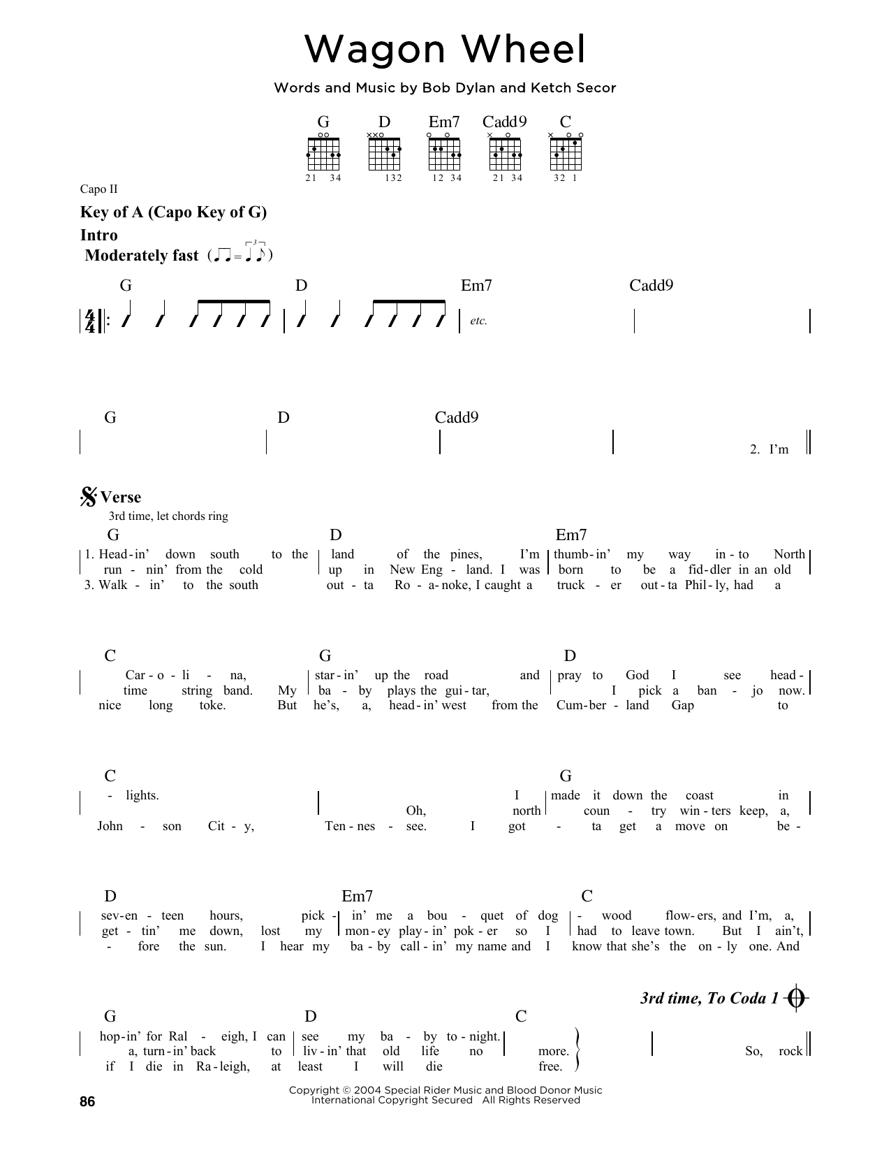 Wagon Wheel (Guitar Lead Sheet)
