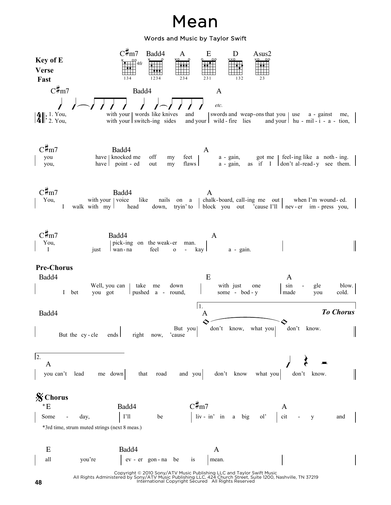 Mean Sheet Music Taylor Swift Guitar Lead Sheet
