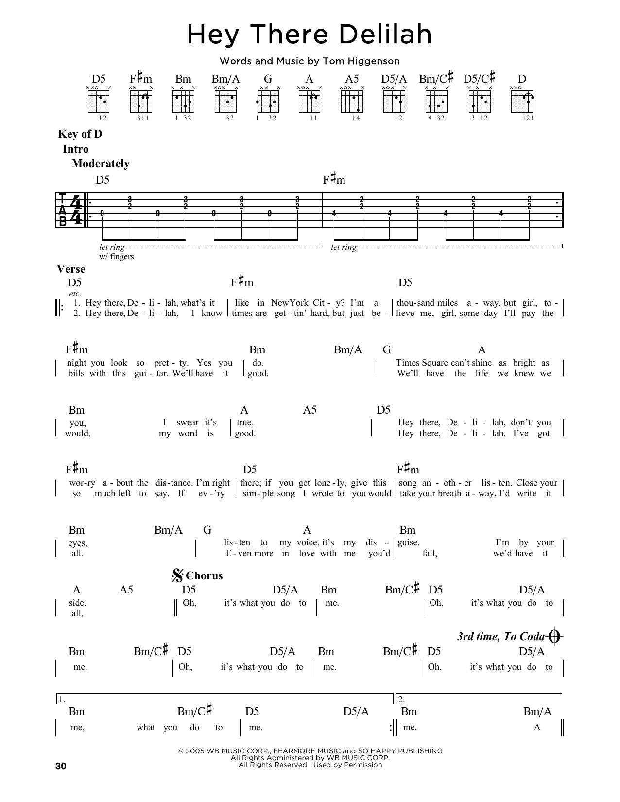 Hey There Delilah Sheet Music