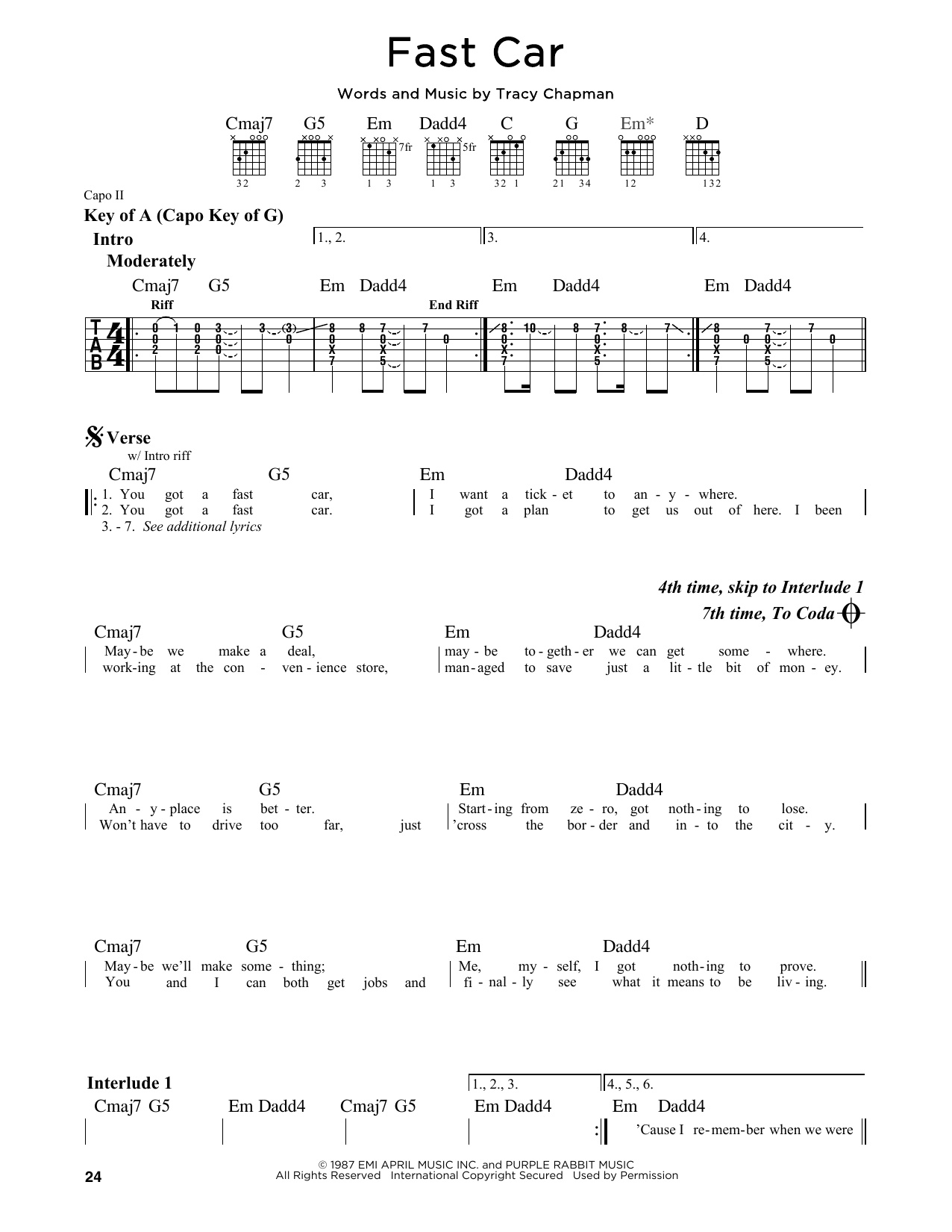 Fast Car Sheet Music Direct - Tracy chapman fast car guitar